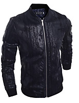 Men's Going out / Casual/Daily / Work Simple / Punk & Gothic Leather Jackets,Solid Stand Long Sleeve Fall / Winter Black PU / Cotton Thick