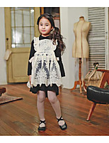Girl's Going out Plaid DressCotton / Polyester Winter / Fall Black
