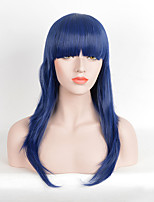 Fashion Bule Color Straight Afro Women Cosplay Synthetic Wigs