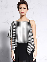 NEW BEFORE  Women's Casual/Daily Simple Summer BlouseStriped Asymmetrical Length Sleeve
