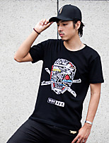 WOWTEE Men's Round Neck Short Sleeve T Shirt Black / Gray-WT-TX024-1