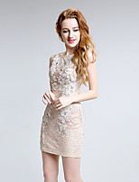 Cocktail Party Dress A-line Jewel Short / Mini Lace with Crystal Detailing