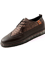 Men's Flats Spring / Summer / Fall / Winter Round Toe Other Animal Skin Casual Flat Heel Lace-up Black / Brown