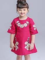 Girl's Casual/Daily Floral DressCotton Summer / Spring Red