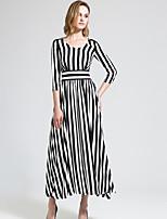 BORME Women's V Neck 1/2 Length Sleeve Maxi Dress-Y030