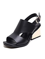 Women's Sandals Summer Comfort Leather Casual Chunky Heel Buckle Black Others
