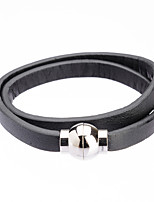 Fashion Long Trip Double Leather Band Cutting Wire Bracelets