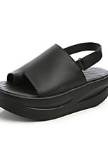 Women's Sandals Summer Sandals Leather Casual Wedge Heel Magic Tape Black / White Others