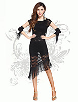 Latin Dance Dresses Women's Performance Chinlon Lace Tassel(s) 3 Pieces Dance Costumes Black Including Gloves