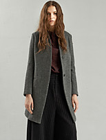 Rizhuo Women's Going out / Casual/Daily Simple CoatSolid V Neck Long Sleeve Winter Gray Wool / Acrylic Medium