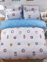 bedtoppings couette couverture couette couette 4pcs définir la taille de reine drap plat taie motif coloré imprime microfibre