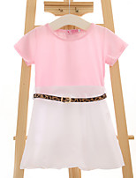 Girl's Casual/Daily Solid DressCotton Summer Pink