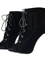 Feminino-Botas-Saltos / Peep Toe / Botas Cano Curto / Botas da Moda-Salto Agulha-Preto-Tecido-Social / Casual / Festas & Noite