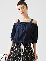 ROOM404  Women's Going out Simple BlouseSolid Off Shoulder Length Sleeve Blue Rayon / Spandex Opaque