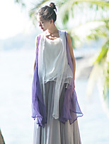 Ramie Cotton Women's Casual/Daily Simple Summer JacketsSolid V Neck Sleeveless Purple Others Sheer