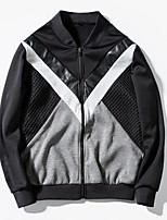 Men's Long Sleeve Casual / Sport JacketPolyester Color Block Black