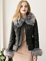 Женский Нарядная / На выход / На каждый день Однотонный Пальто с мехом Круглый вырез,Простое / Уличный стиль Зима Черный Длинный рукав,