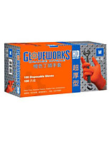 Thick Durable Disposable Nitrile Gloves Orange Size  M