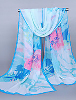 Women's Chiffon Flowers Print Scarf Pink/Green/White/Blue