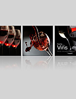 JAMMORY Canvas Set Landscape ,Three Panels Gallery Wrapped, Ready To Hang Vertical Print No Frame Red Wine Glass