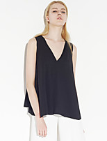 C+IMPRESS Women's Going out Simple Summer Tank TopSolid V Neck Sleeveless Black Polyester Thin