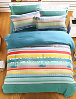 Bedtoppings Comforter Duvet Quilt Cover 4pcs Set Queen Size Flat Sheet Pillowcase Sailing Stripe Prints Microfiber