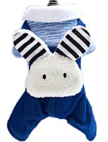 Cute Halloween Rabbit Pattern Jean Fleece Dog Jumpsuits for Pets Dogs Warm Dog Clothes