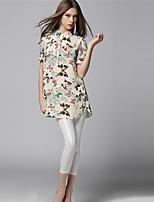 AJIDUO® Damen Hemdkragen Kurze Ärmel Shirt & Bluse Mandelfarben-A6968
