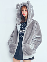 Women's Going out Cute Fur Coat Solid Hooded Long Sleeve Fall / Winter