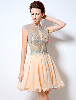 Cocktail Party Dress A-line Jewel Short / Mini Chiffon with Crystal Detailing