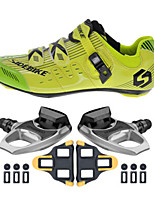 SD003 Cycling Shoes Unisex Outdoor / Road Bike Sneakers Damping / Cushioning Yellow/Green-sidebike And R540 Rock Pedals