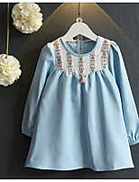 Girl's Casual/Daily Solid DressCotton / Rayon Spring / Fall Blue