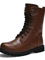 Men's Boots Fall / Winter Comfort PU Casual Flat Heel  Black / Brown Sneaker