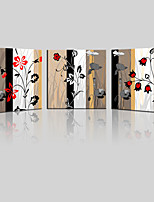 JAMMORY Canvas Set Landscape ,Three Panels Gallery Wrapped, Ready To Hang Vertical Print No Frame Black and Red Flowers