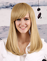 Chariming Trendy Blonde with Bangs Fashion Hairstyle Natural Looking Synthetic Wigs for Eurpean and American Ladies