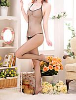 Damen Dessous Nachtwäsche,Spitze einfarbig-Baumwolle Dünn Schwarz Damen