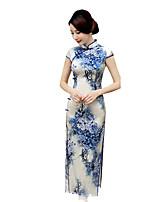 Classic & Traditional Lolita Skirt Short Sleeve Long Length Blue Lolita Dress Silk