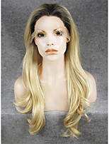 MSTYLE 24Natural Wave High Quality Bleach Blond Synthetic Wigs Lace Front With Dark Root