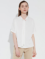 C+IMPRESS Women's Going out Sophisticated Spring / Fall ShirtSolid Round Neck Short Sleeve White Polyester Medium