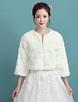 Women's Wrap Shrugs 3/4-Length Sleeve Faux Fur Ivory Wedding / Party/Evening / Casual Scoop 34cm Wave-like Open Front