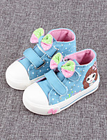 Girl's Sneakers Spring / Fall Comfort Canvas Outdoor Flat Heel Bowknot Blue / Pink / White Walking