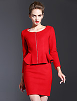 Women's Work Sophisticated Fall / Winter Wrap Skirt Suits,Solid Round Neck Long Sleeve Red Wool / Cotton Thick
