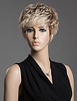 peluca de pelo corto que prevalece inclinado explosión sin tapón esponjoso cabello rizado humana