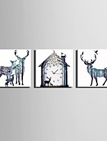 MINI SIZE E-HOME Fantastic Deer Clock in Canvas 3pcs