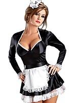 Costumes de Cosplay / Costume de Soirée Tenus de Servante Fête / Célébration Déguisement Halloween Noir/blanc Couleur Pleine Robe