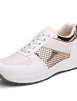 Women's Sneakers Spring / Fall Comfort PU Casual Flat Heel  Black / Silver / Gold Sneaker