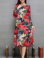 Women's Casual/Daily Vintage Loose DressFloral Round Neck Midi Long Sleeve Red Linen All Seasons Mid Rise