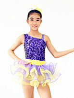 Ballet Dresses Children's Performance Spandex / Sequined / Tulle Paillettes / Ruffles / Sequins 2 Pieces Purple Ballet
