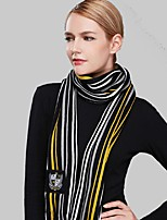 Women Acrylic ScarfCasual RectangleBlackStriped