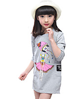 Girl's Casual/Daily Solid DressCotton Spring White / Gray